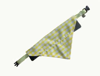 Yellow And White Gingham Bandana And Collar Set