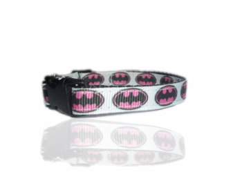 Batman Pawed Crusader Small Dog Puppy Collar Pink