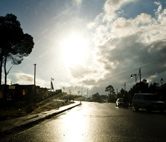 sun glare wet road 2