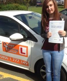 mel passed her driving test first time with no faults