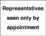 representatives seen by appointment