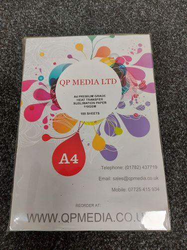 A4 Premium Grade 110 gsm Sublimation Paper (100 Pack) White Back