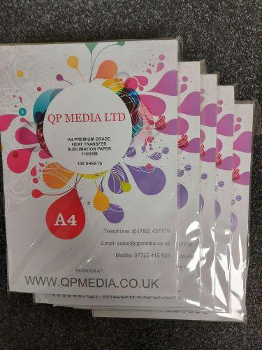 A4 Premium Grade 110 gsm Sublimation Paper (500 Pack) White Back
