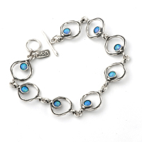 Bracelet Silver with Blue & rainbow Opals - Aviv