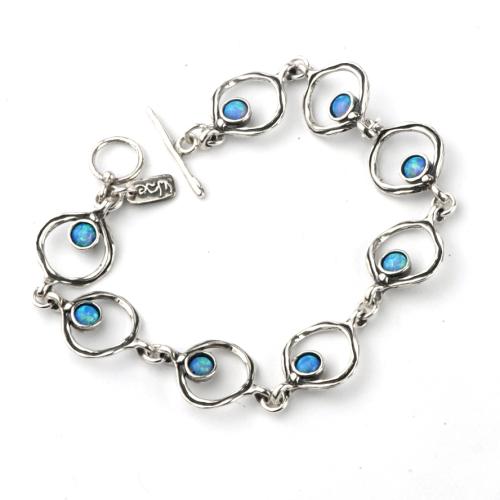 Bracelet Silver with Blue & rainbow Opals - Aviv