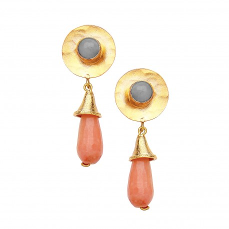 Hammered disc earrings Peach agate  with Labradorite