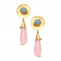 Hammered disc earrings Rose with blue chalcedony