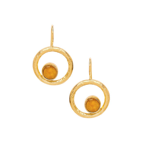 Orbital Earrings with yellow agate  - Ottoman Hands