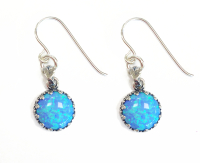 Earrings Silver with Blue Opals - Aviv