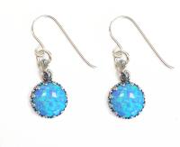 Earrings Silver with Blue Opals - Aviv