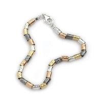 Bracelet 9K gold beads with Silver beads - Aviv