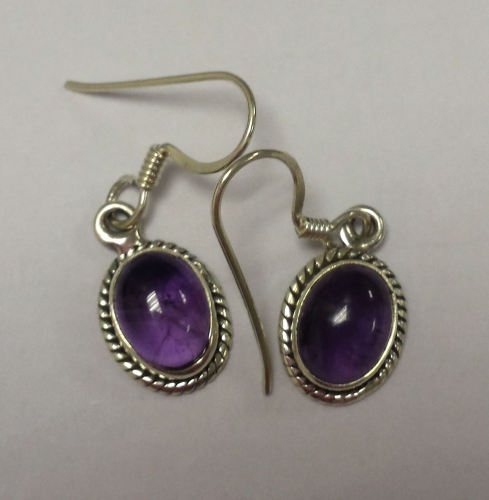 Amethyst Purple Silver Earrings  (AM30)