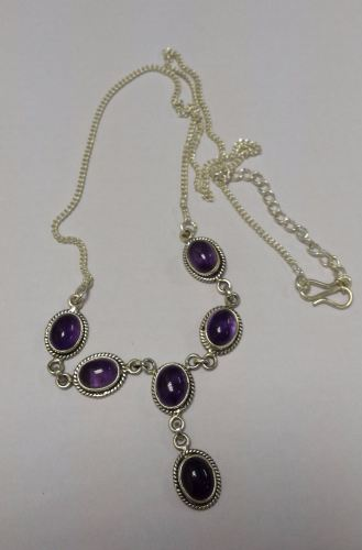 Amethyst purple stone silver necklace  (AM30)