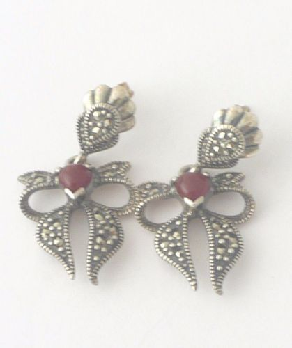 Carnelian silver earrings Bow design  (CBOW01)