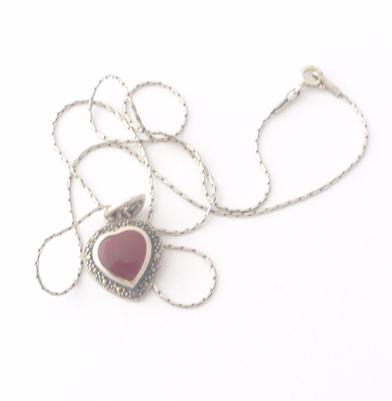 Carnelian Silver Necklace Heart (C05N)