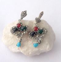 Silver  earrings Hearts - Multi stone Turquoise & Agate (MS01E)