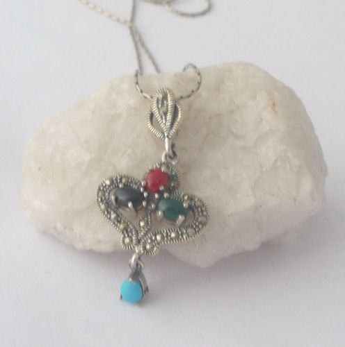 Silver  Necklace Hearts - Multi stone Turquoise & Agate  (MS01N)