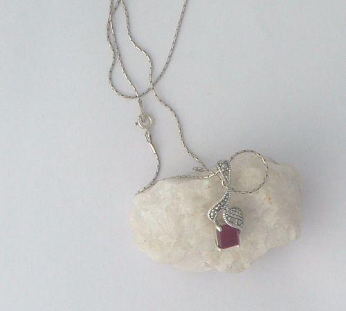 Carnelian silver Square Pendant