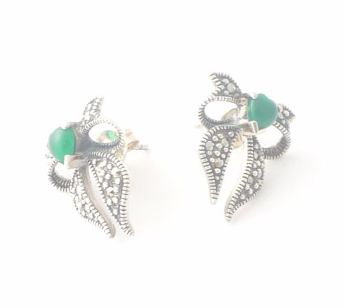 Agate silver earrings Persian Bow design  (JBOW02)