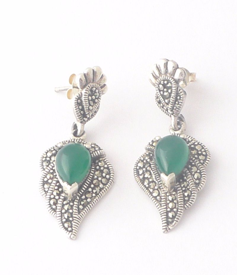 Green Agate silver  earrings (J01E)
