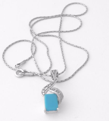 Turquoise Silver Necklace - Square  (T02N)