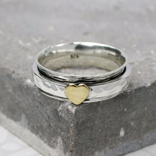 Spinning Ring - Silver with brass & Copper (A0040)