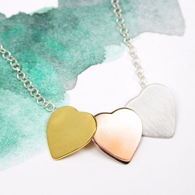 3 Colour Silver Hearts Necklace - POM (NS)