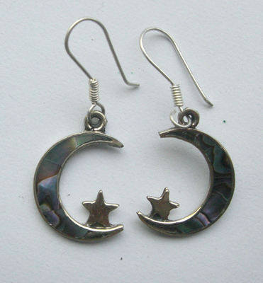 Mexican earrings inlaid with Abalone (mex12)