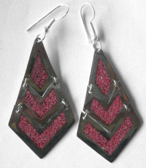 Mexican earrings Silver with crushed Turquoise (MEX108)