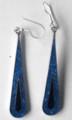 Mexican earrings Silver with crushed Turquoise (MEX103)