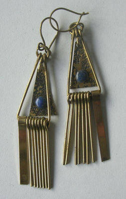 Chilean Brass Earrings with Lapis CH02