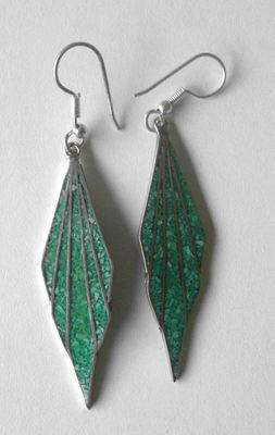 Mexican earrings Silver with crushed Turquoise (MEX14)
