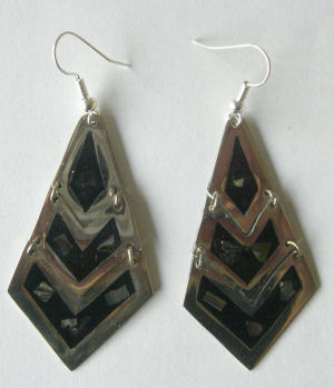 Mexican earrings Silver with inlaid abalone (MEX22)