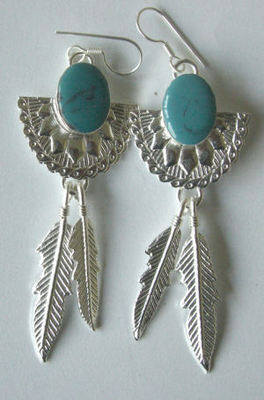 Mexican earrings Silver with Stone - MEX06