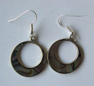 Mexican earrings inlaid with Abalone (mex44)