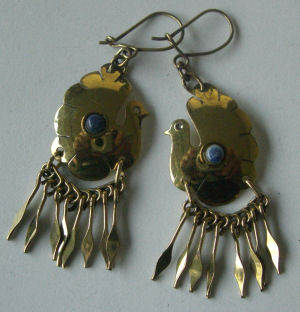 Chilean Brass Earrings with Lapis CH06
