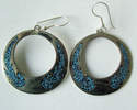 Mexican earrings Silver with crushed Turquoise (MEX29)
