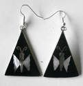 Mexican earrings black inlaid with shell (Mex36)