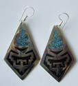 Mexican earrings Silver with crushed Turquoise (MEX37)
