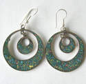 Mexican earrings Silver with crushed Turquoise (MEX21)
