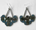 Mexican earrings Silver with crushed Turquoise (MEX20)