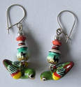 Earrings from Peru - Hand painted ceramic Birds - PO4