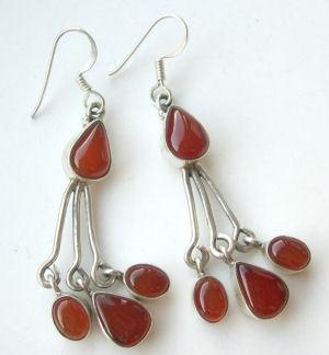 Carnelian four  stone silver earrings (C309384)