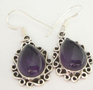 Amethyst Purple Silver Earrings Fancy design (AE05)