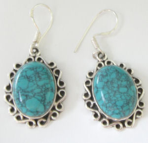 Turquoise and fancy silver dangle earrings  (TE01)