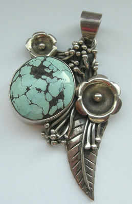 Turquoise Silver Flower Pendant (TP04)