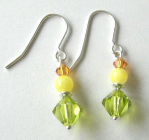 Silver earrings with Yellow swarovski crystals