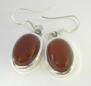 Carnelian Silver Earrings  (C310391)