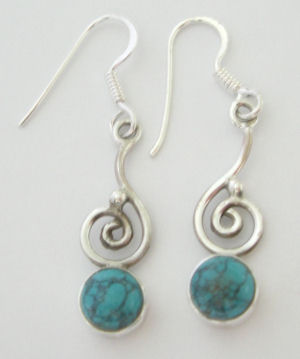 Turquoise blue stone silver earrings  (TE02)