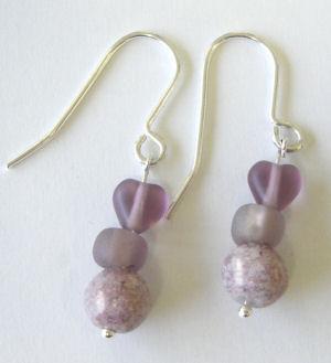 Lilac Pink heart Silver Earrings